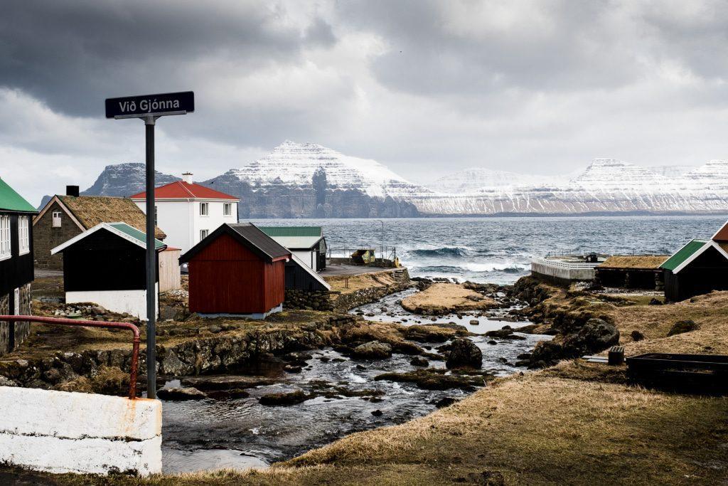 River runs into the sea in Gjógv on the Faroe Islands
