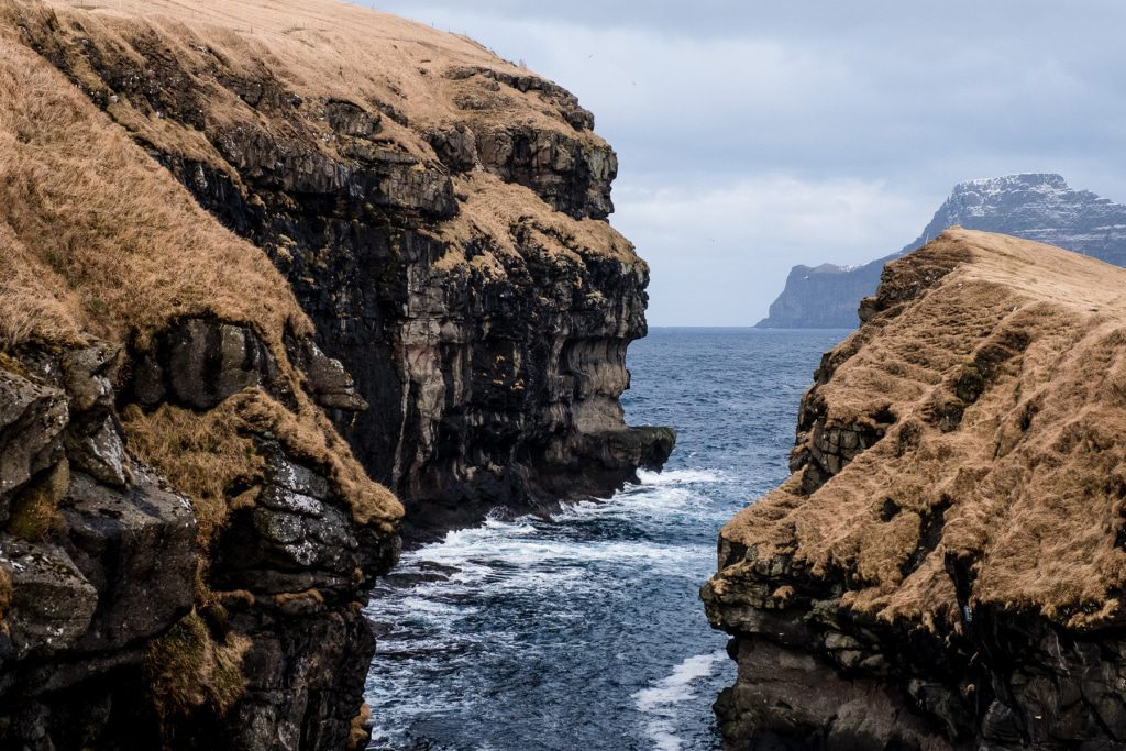 Natural harbour in a canyon in Gjógv on the Faroe Islands