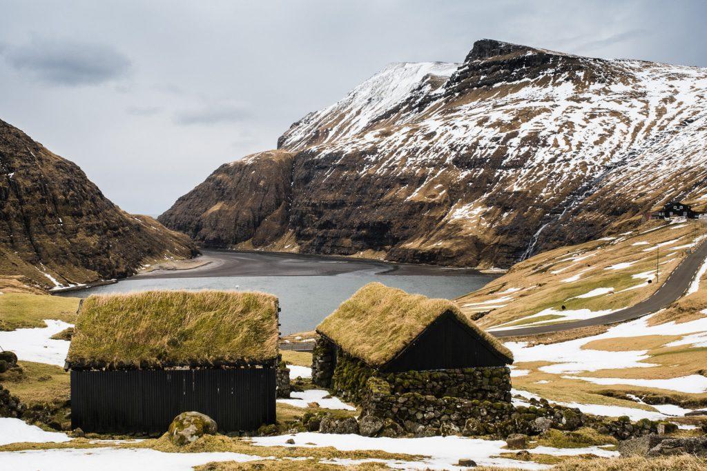 Gras houses in Saksun on the Faroe Islands
