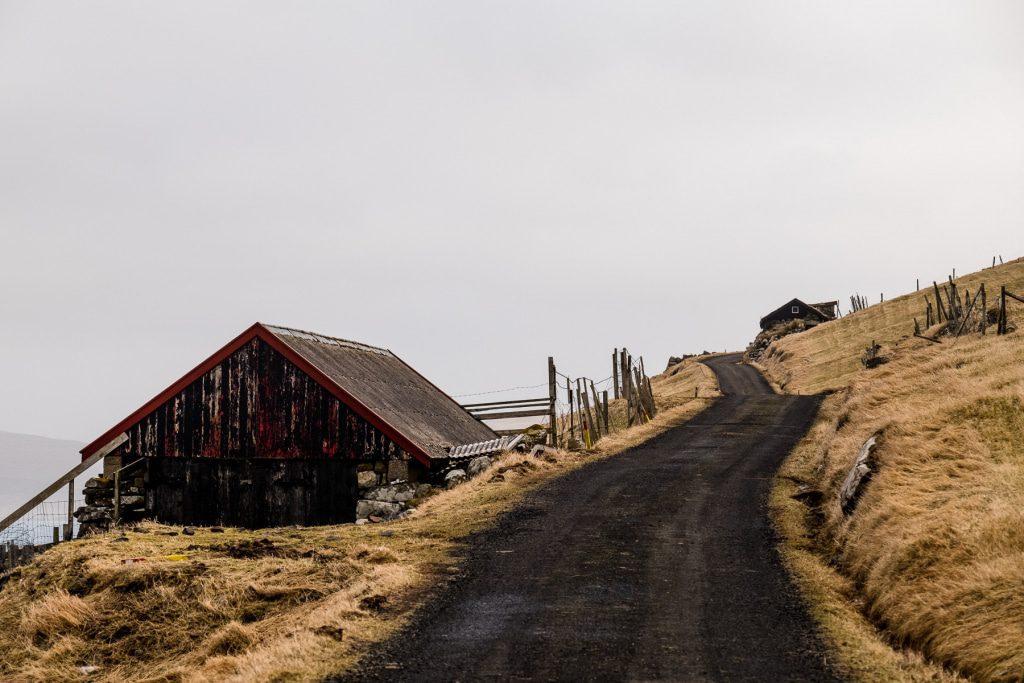Road into the sky on the Faroe Islands